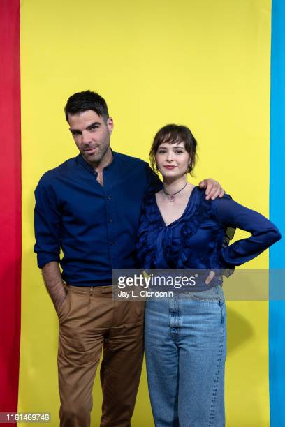 Zachary Quinto and Ashleigh Cummings of 'NOS4A2' are photographed for Los Angeles Times at ComicCon International on July 20 2019 in San Diego...