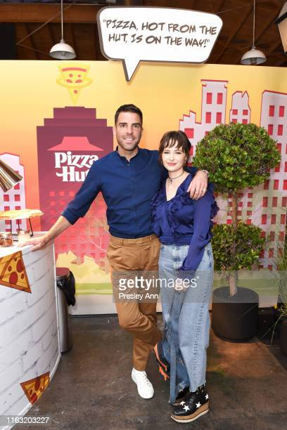 Zachary Quinto and Ashleigh Cummings of 'NOS4A2' attend the Pizza Hut Lounge at 2019 ComicCon International San Diego on July 20 2019 in San Diego...