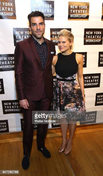 Zachary Quinto and Celia KeenanBolger attend the 2018 New York Theatre Workshop Gala at the The Altman Building on April 16 2018 in New York City