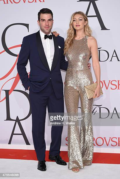 Zachary Quinto and Gigi Hadid attend the 2015 CFDA Fashion Awards at Alice Tully Hall at Lincoln Center on June 1, 2015 in New York City.