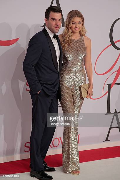 Zachary Quinto and Gigi Hadid attend the 2015 CFDA Fashion Awards at Alice Tully Hall at Lincoln Center on June 1 2015 in New York City