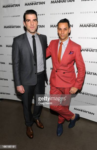 Zachary Quinto and James Aguiar attend Manhattan Magazine Men's Issue party hosted By Zach Quinto on April 9 2013 in New York United States