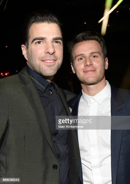 Zachary Quinto and Jonathan Groff attend the 2017 GQ Men of the Year party at Chateau Marmont on December 7 2017 in Los Angeles California