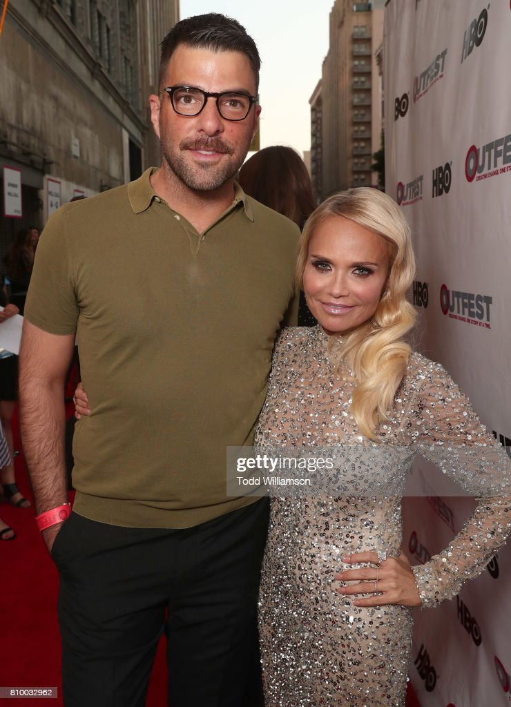 Zachary Quinto and Kristin Chenoweth attend the 2017 Outfest Los Angeles LGBT Film Festival Opening Night Gala at Orpheum Theatre on July 6, 2017 in Los Angeles, California.