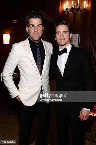 Zachary Quinto and Matt Bomer attend the amfAR Inspiration Gala New York 2014 at The Plaza Hotel on June 10 2014 in New York City