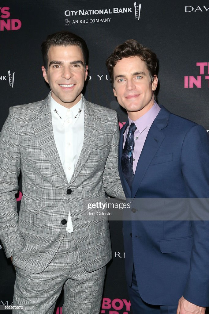 Zachary Quinto and Matt Bomer attend 'The Boys In The Band' 50th Anniversary Celebration after party at Second Floor on May 30, 2018 in New York City.