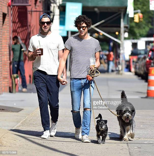 Zachary Quinto and Miles Mcmillan are seen in Soho on June 2 2016 in New York City