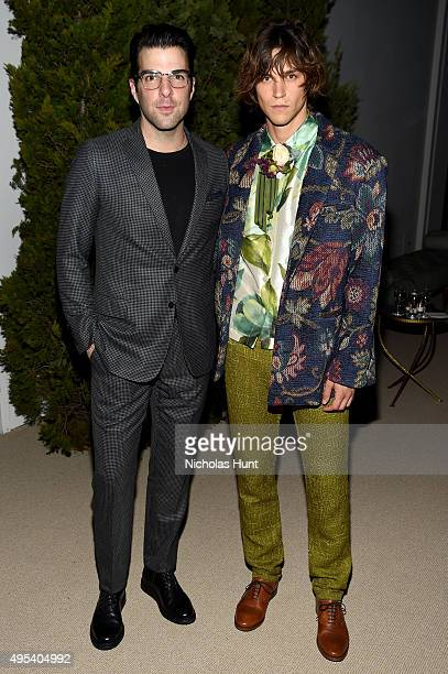 Zachary Quinto and Miles McMillan attend the 12th annual CFDA/Vogue Fashion Fund Awards at Spring Studios on November 2 2015 in New York City