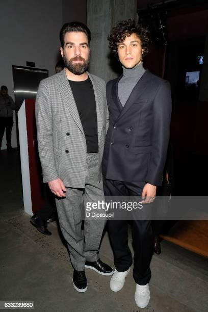 Zachary Quinto and Miles McMillan attend the Boss after party during NYFW Men's at Skylight Modern on January 31 2017 in New York City
