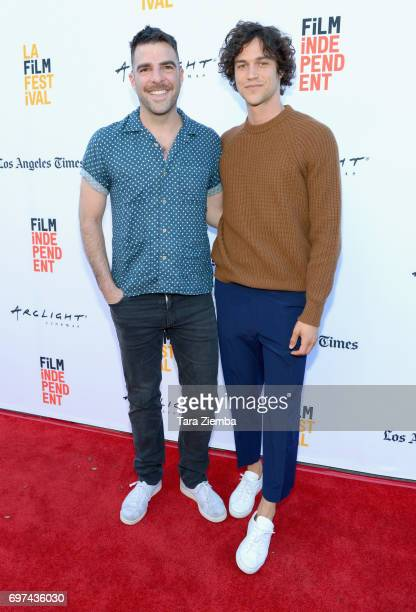 Zachary Quinto and Miles McMillan attend the premieres of Never Here and Laps during 2017 Los Angeles Film Festival at Arclight Cinemas Culver City...