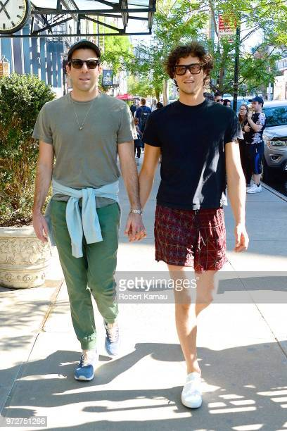 Zachary Quinto and Miles Mcmillan seen out and about in Manhattan on June 12 2018 in New York City