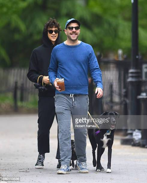 Zachary Quinto and Miles McMillan seen out for a walk with their dogs in West Village on May 7 2017 in New York City
