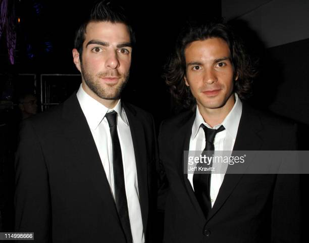 Zachary Quinto and Santiago Cabrera during 5th Annual TV Land Awards Backstage at Barker Hangar in Santa Monica California United States