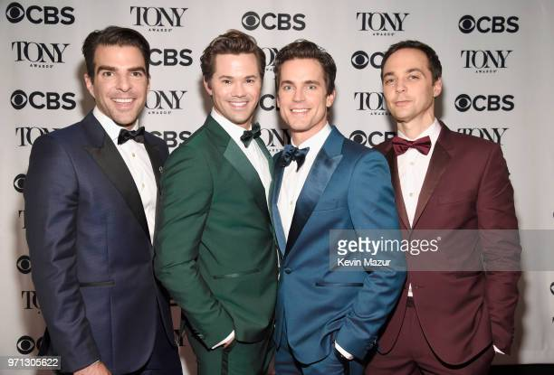 Zachary Quinto Andrew Rannells Matt Bomer and Jim Parsons pose backstage during the 72nd Annual Tony Awards at Radio City Music Hall on June 10 2018...