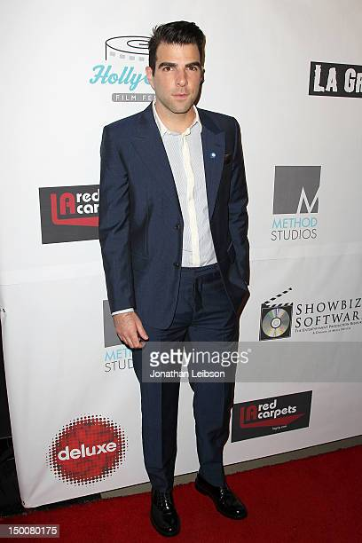 Zachary Quinto attends the 8th Annual HollyShorts Film Festival - Opening Night Celebration - Arrivals at Grauman's Chinese Theatre on August 9, 2012...
