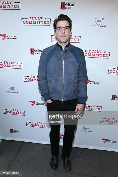 Zachary Quinto attends the opening night of Fully Committed at Lyceum Theatre on April 25 2016 in New York City