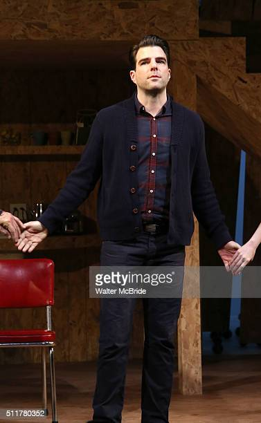 Zachary Quinto during the OffBroadway Opening Night Performance Curtain Call for 'Smokefall' at Lucille Lortel Theatre on February 22 2016 in New...