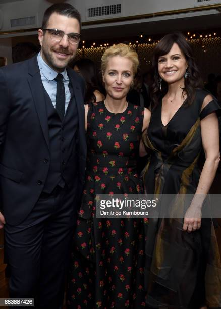 Zachary Quinto Gillian Anderson and Carla Gugino attend the 2017 CAA Upfronts Celebration Party at La Sirena on May 15 2017 in New York City