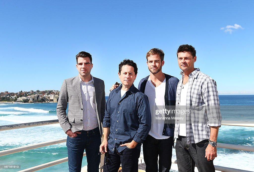 Zachary Quinto, J.J. Abrams, Chris Pine and Karl Urban pose at Bondi Beach at the 'Star Trek Into Darkness' photo call on April 22, 2013 in Sydney, Australia.