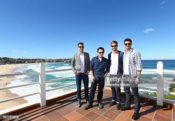 Zachary Quinto JJ Abrams Chris Pine and Karl Urban pose at Bondi Beach at the 'Star Trek Into Darkness' photo call on April 22 2013 in Sydney...