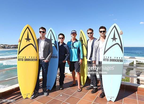 Zachary Quinto JJ Abrams Lifeguard Dean 'Deano' Gladstone Chris Pine and Karl Urban pose at Bondi Beach at the 'Star Trek Into Darkness' photo call...