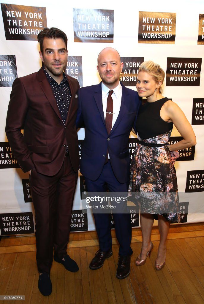 Zachary Quinto, John Tiffany and Celia Keenan-Bolger attend the 2018 New York Theatre Workshop Gala at the The Altman Building on April 16, 2018 in New York City.