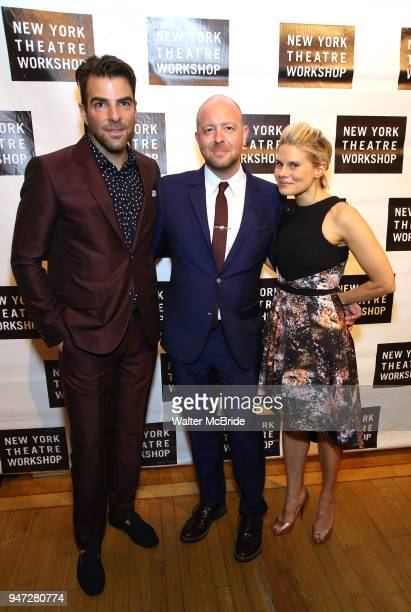 Zachary Quinto John Tiffany and Celia KeenanBolger attend the 2018 New York Theatre Workshop Gala at the The Altman Building on April 16 2018 in New...