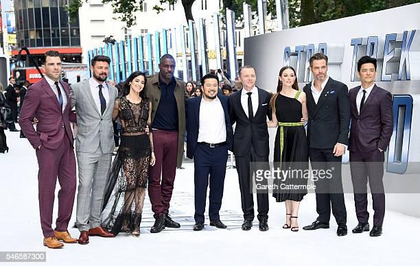 Zachary Quinto Karl Urban Sofia Boutella Idris Elba director Justin Lin Simon Pegg Lydia Wilson Chris Pine and John Cho attend the UK Premiere of...
