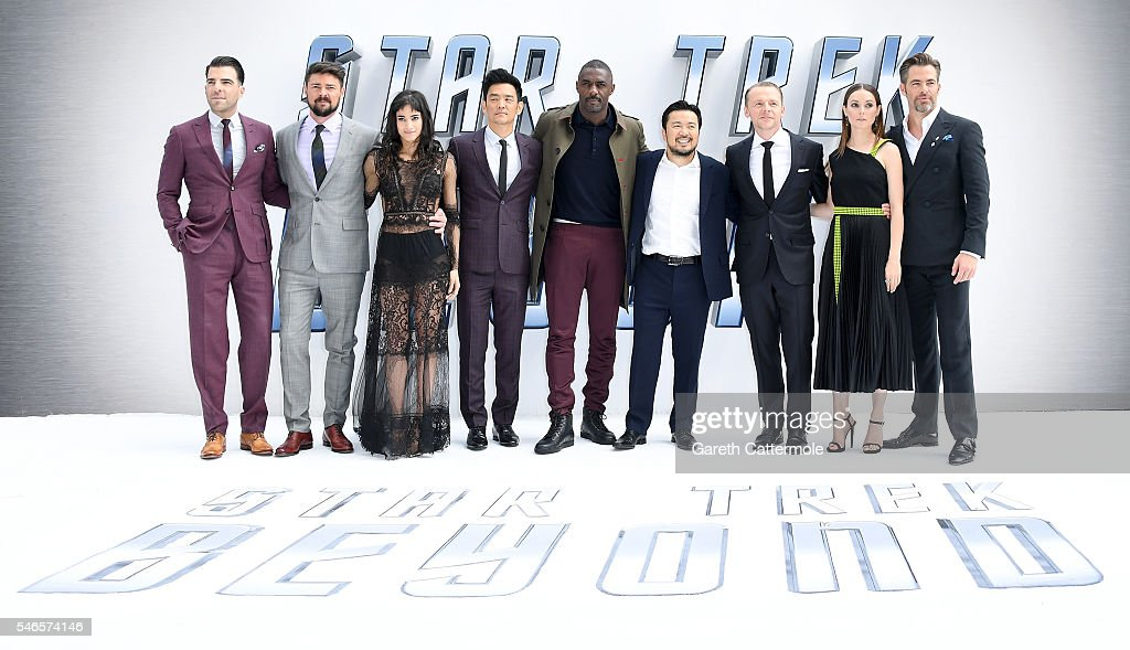 Zachary Quinto, Karl Urban, Sofia Boutella, John Cho, Idris Elba, director Justin Lin, Simon Pegg, Lydia Wilson and Chris Pine attend the UK Premiere of Paramount Pictures 'Star Trek Beyond' at the Empire Leicester Square on July 12, 2016 in London, England.