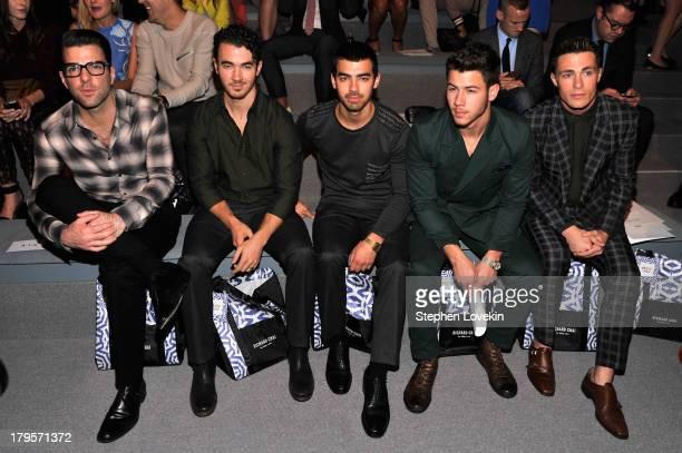 Zachary Quinto Kevin Jonas Nick Jonas Joe Jonas and Colton Haynes attend the Richard Chai Spring 2014 fashion show during MercedesBenz Fashion Week...