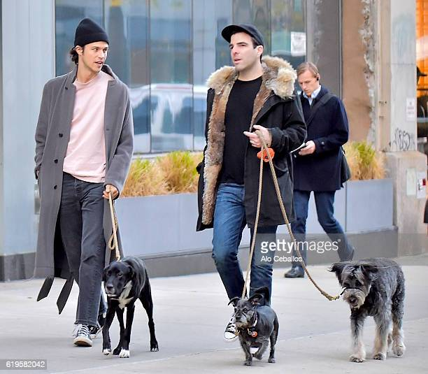 Zachary Quinto Miles Mcmillan are seen in Soho on October 31 2016 in New York City