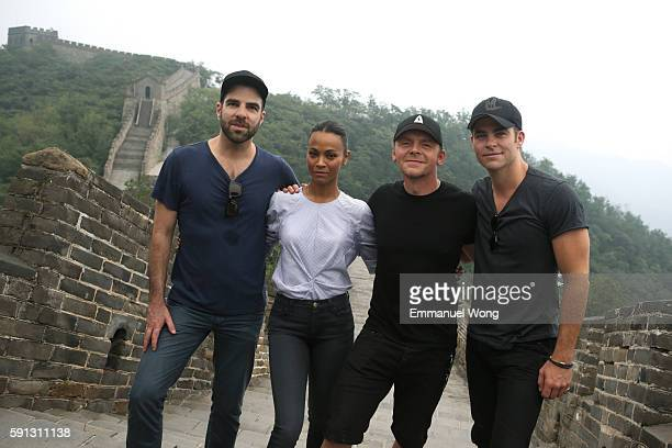 Zachary Quinto Zoe Saldana Simon Pegg and Chris Pine visit the Great Wall during the promotional tour of the Paramount Pictures title 'Star Trek...