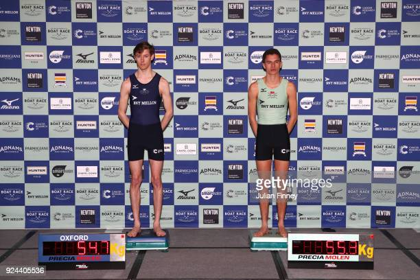 Zachary Thomas Johnson of of Oxford and Hugo Ramambason of Camridge during the 2018 Cancer Research UK Boat Race Crew Announcement on February 26...
