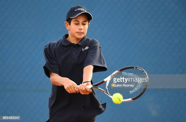 Zachary Viiala of Australia plays a backhand during the Australian Launch of the Longines Future Tennis Aces Tournament at Melbourne Park on May 7...