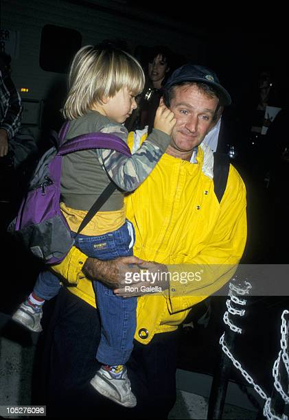 Zachary Williams and Robin Williams during HBO's Comic Relief '87 at Universal Ampitheater in Universal City California United States