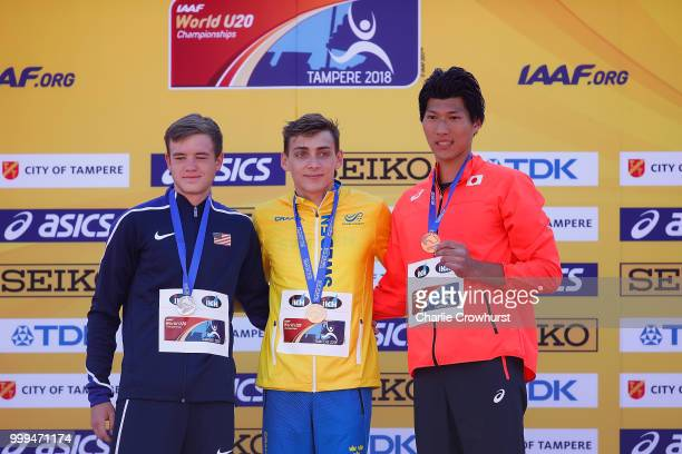 Zachery Bradford of The USA Armand Duplantis of Sweden and Masaki Ejima of Japan celebrate with their medals during the medal ceremony for the men's...