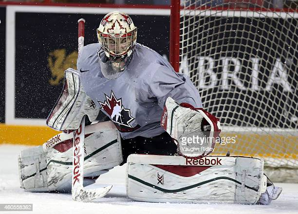 Zachery Fucale makes a save during the Canada National Junior Team practice at the Meridian Centre on December 16 2014 in St Catharines Ontario Canada