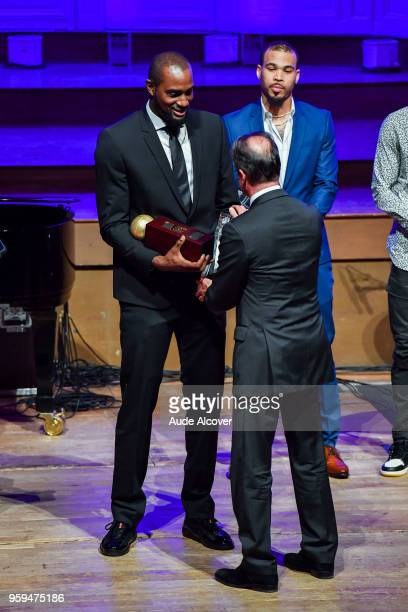 Zachery Peacock receiving the best player of Jeep Elite trophy during the Trophy Award LNB Basketball at Salle Gaveau on May 16 2018 in Paris France