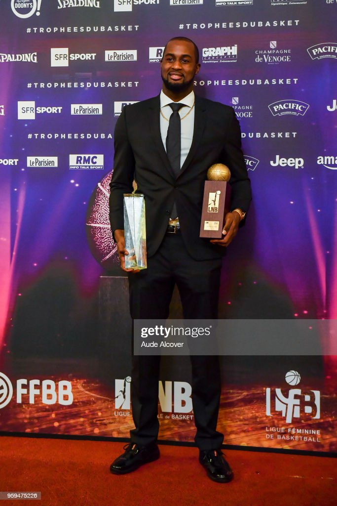 Zachery Peacock with his Jeep Elite All Star Team (5 Majeur) trophy and best player of Jeep Elite trophy during the Trophy Award LNB Basketball at Salle Gaveau on May 16, 2018 in Paris, France.