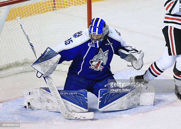 Zack Bowman of the Sudbury Wolves makes a toe save during the first period of an OHL game against the Niagara IceDogs at the Meridian Centre on...