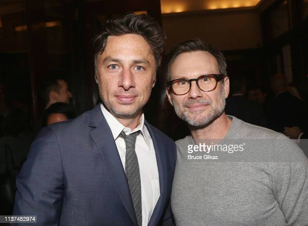 Zack Braff and Christian Slater attend the opening night of the play Burn This on Broadway at The Hudson Theatre on April 15 2019 in New York City