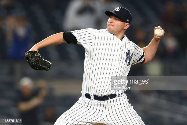 Zack Britton of the New York Yankees in action against the Kansas City Royals at Yankee Stadium on April 19 2019 in New York City New York Yankees...