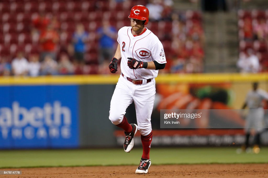 Zack Cozart #2 of the Cincinnati Reds rounds second base after hitting a home run in the third inning of the game against the Pittsburgh Pirates at Great American Ball Park on September 15, 2017 in Cincinnati, Ohio. Cincinnati defeated Pittsburgh 4-2.