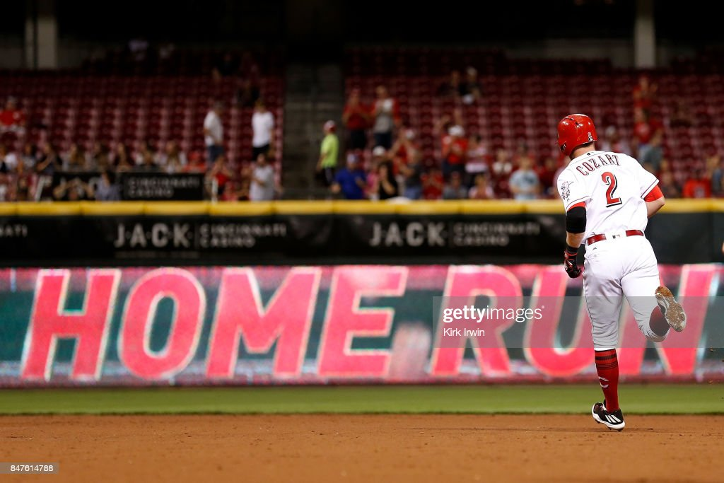 Zack Cozart #2 of the Cincinnati Reds rounds second base after hitting his second home run of the game against the Pittsburgh Pirates during the fifth inning at Great American Ball Park on September 15, 2017 in Cincinnati, Ohio. Cincinnati defeated Pittsburgh 4-2.