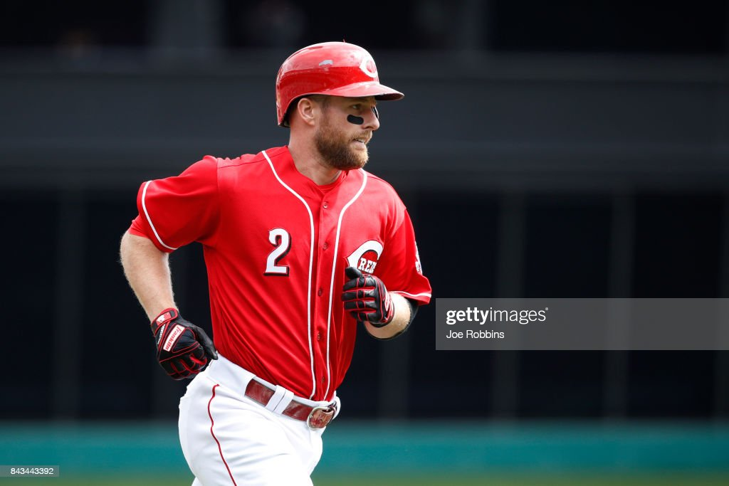 Zack Cozart #2 of the Cincinnati Reds rounds the bases after a solo home run in the seventh inning of a game against the Milwaukee Brewers at Great American Ball Park on September 6, 2017 in Cincinnati, Ohio. The Reds defeated the Brewers 7-1.