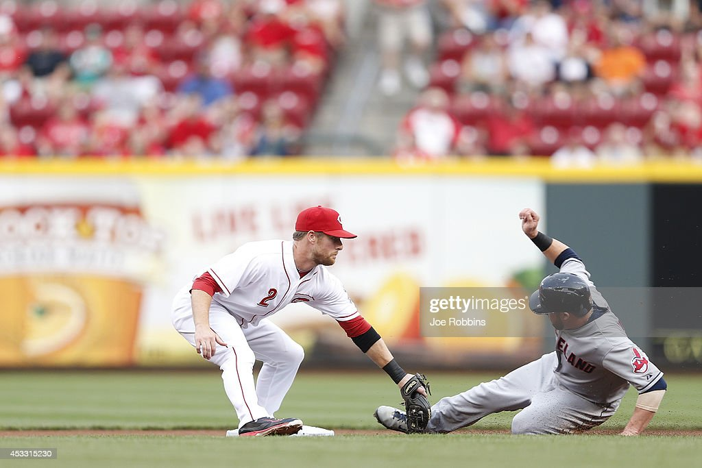 Zack Cozart #2 of the Cincinnati Reds tags out Jason Kipnis #22 of the Cleveland Indians on a force play at second base in the first inning of the game at Great American Ball Park on August 7, 2014 in Cincinnati, Ohio.