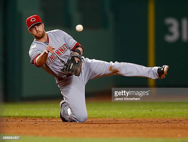 Zack Cozart of the Cincinnati Reds throws a ball from his knees against the Boston Red Sox during the interleague game at Fenway Park on May 7 2014...