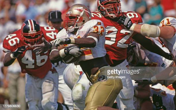 Zack Crockett, Running Back for the Florida State Seminoles runs the football during the NCAA Atlantic Coast Conference college football game against...