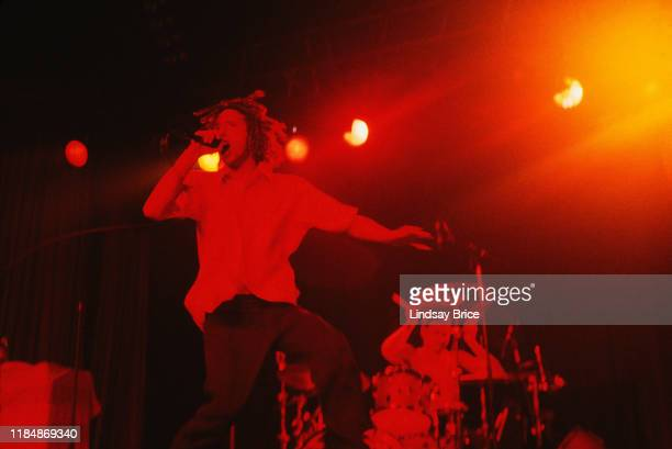 Zack de la Rocha and Brad Wilk perform in Rage Against the Machine at the Hollywood Palladium on October 1 1996 in Los Angeles