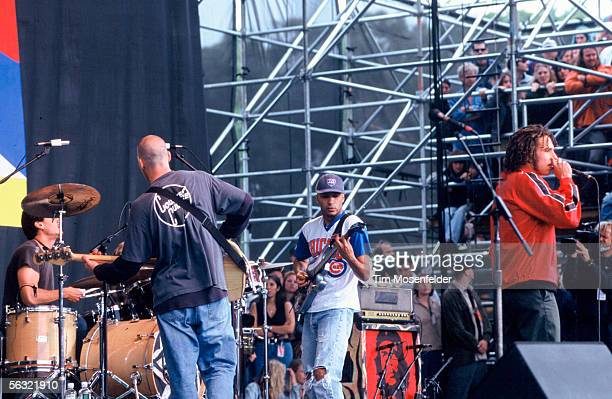 Zack De La Rocha and Rage Against the Machine perform as part of the Tibetan Freedom Concert 1996 at the Polo Fields in Golden Gate Park on June 16...